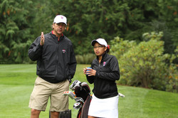 Monica Keo and coach reading putt on 4 037