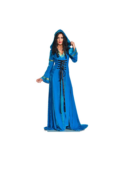 BLUE HOODED MEDIEVAL DRESS - RENTAL FEE $40.00