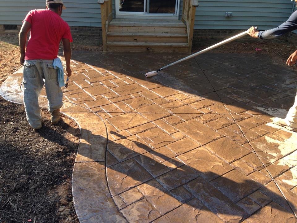 Ashlar Slate Being Stained