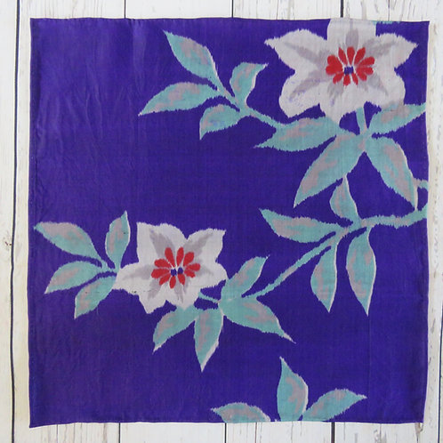 Pocket Square made from Vintage Japanese Kimono / Meisen / Purple Flower