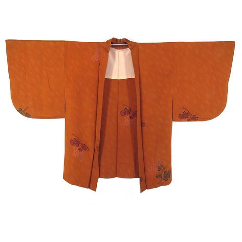 Vintage Japanese Kimono Jacket / Haori / Flower / Kawari-Chirimen