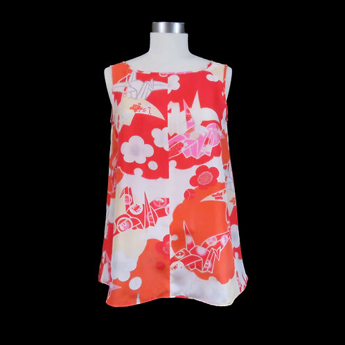 Sleeveless Pull Over made from a Vintage Japanese Kimono Silk Liner / Crane