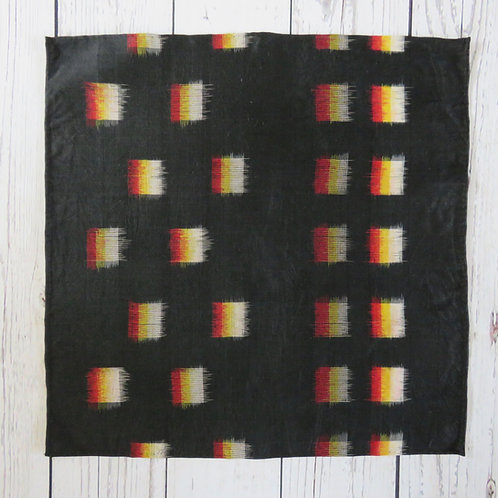 Pocket Square made from Vintage Japanese Kimono / Meisen /Black