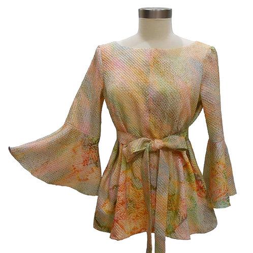 Long Sleeve Pullover / Made from a Vintage Japanese Kimono Silk / Sou-Shibori