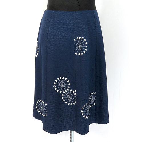 Eight Paneled Skirt made from Vintage Japanese kimono Blue Shibori