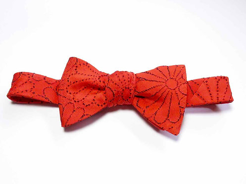 Bow Tie made from Vintage Japanese Kimono / Matelasse / Orange / Chrysanthemum
