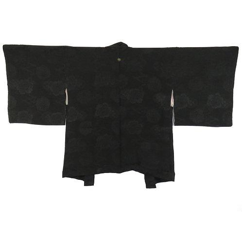 Vintage Japanese Kimono Jacket / Haori / Black Formal / Mon-Kinsya-Chirimen