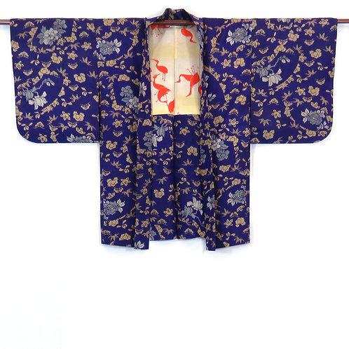 Vintage Japanese Kimono / Haori / Meisen / Komon / Peony / Purple