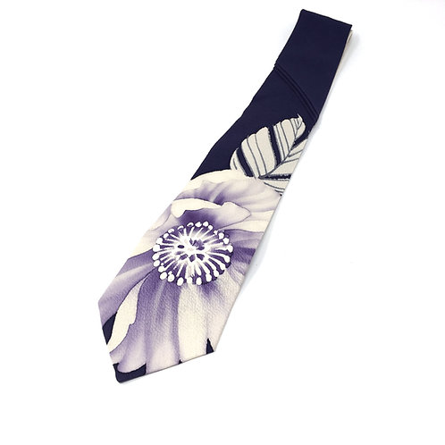 Neck Tie made from Vintage Japanese Kimono / Blue Flower