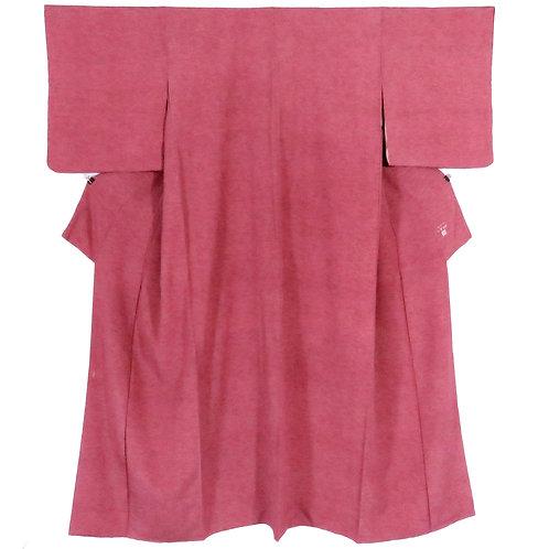 Vintage Japanese Kimono / Edo Komon / Pine / Red / Kumoi-Chirimen