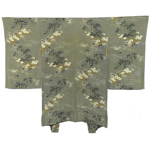 Vintage Japanese Kimono Jacket / Haori / Chrysanthemum / Flower / Mon-Kinsya