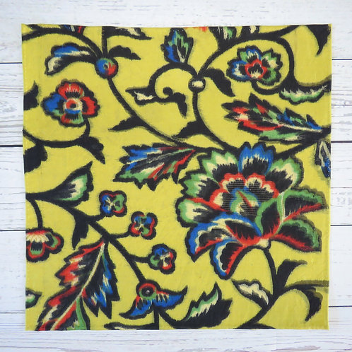 Pocket Square made from Vintage Japanese Kimono / Meisen / Yellow / Flower
