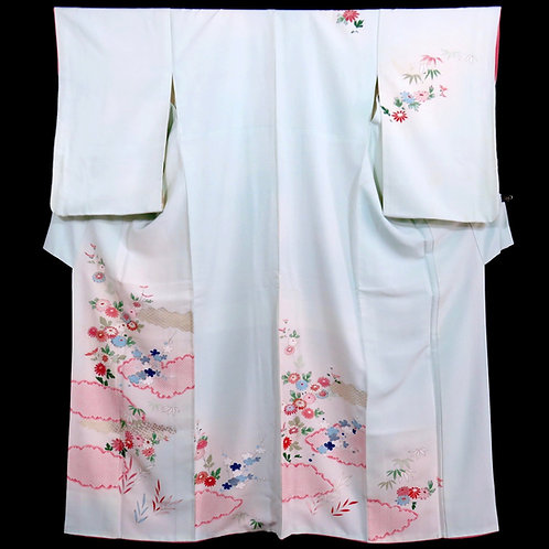 Vintage Japanese Kimono / Houmongi / Bamboo Grass / Plum / Chrysanthemum