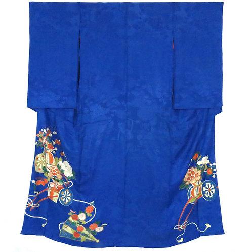Vintage Japanese Iro Tomesode / Mon-Kinsya-Chirimen /  Hanaguruma