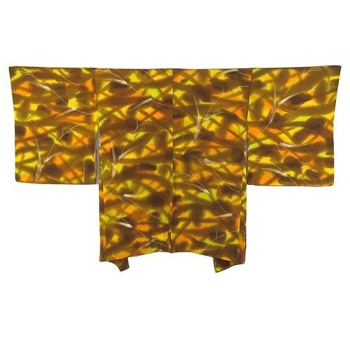 Vintage Japanese Kimono Jacket / Haori / Komon / Mon-Isho-Chirimen