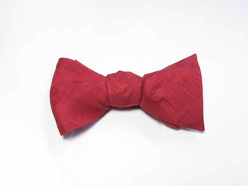 Bow Tie made from Vintage Japanese Kimono / Red / Matelasse