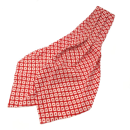 Cravat made from Vintage Japanese Kimono / Red Dots / Hutakoshi-Chirimen