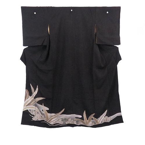 Vintage Japanese Kimono / Kuro-Tomesode / Black Formal / Embroidered