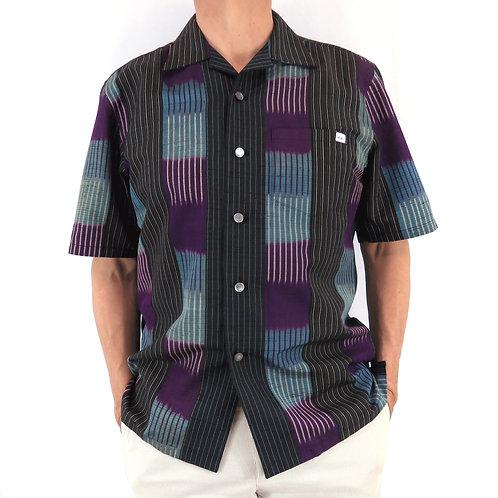 Men's Hawaiian Shirt made from vintage Kimono / Tsumugi / Kimono