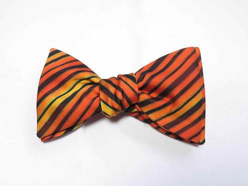 Bow Tie made from Vintage Japanese Kimono / Satin / Orange Stripe
