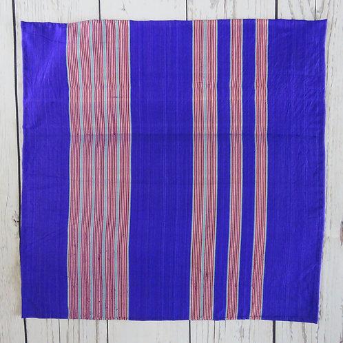 Pocket Square made from Vintage Japanese Kimono / Meisen / Purple Stripe