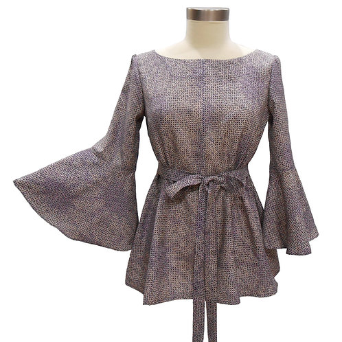 Long Sleeve Pullover / Made from Vintage Japanese Kimono Silk / Purple /  Cute