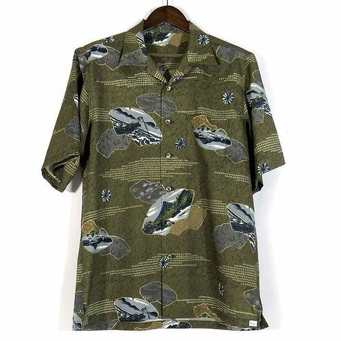 Men's Hawaiian Shirt made from vintage Kimono / Wool / Summer Wool