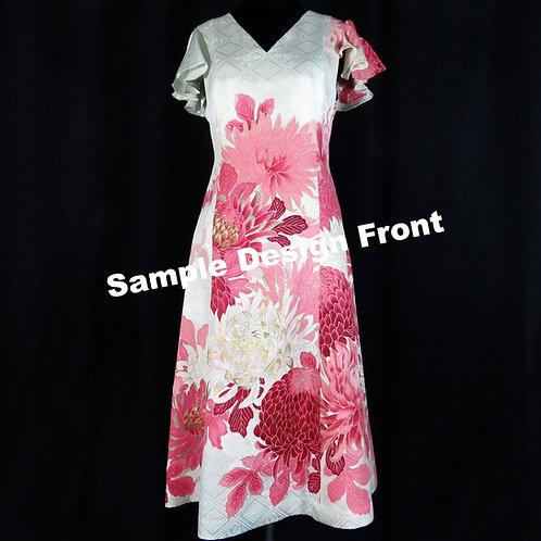 Women's Silk V-neck Split Sleeves Dress made from Vintage Kimono / Mon-Rinzu