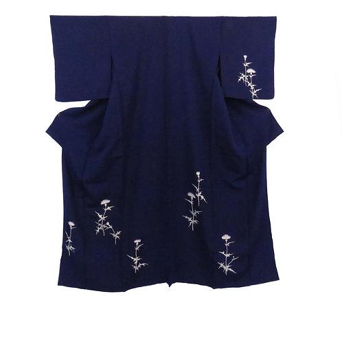 Vintage Japanese Kimono / Tsukesage / Thistle / Hitoe / Hutakoshi-Chirimen