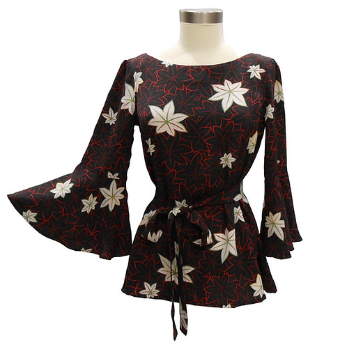 Long Sleeve Pullover / Made from a Vintage Japanese Kimono Silk / Maple /  Cute