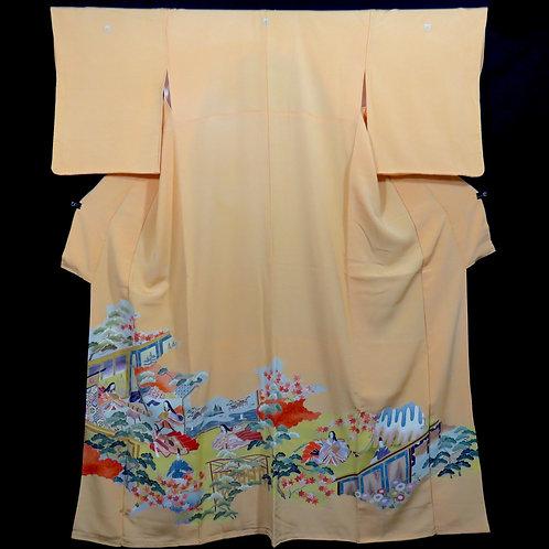 Vintage Japanese kimono / Iro-Tomesode / Monogatari / Embroidered