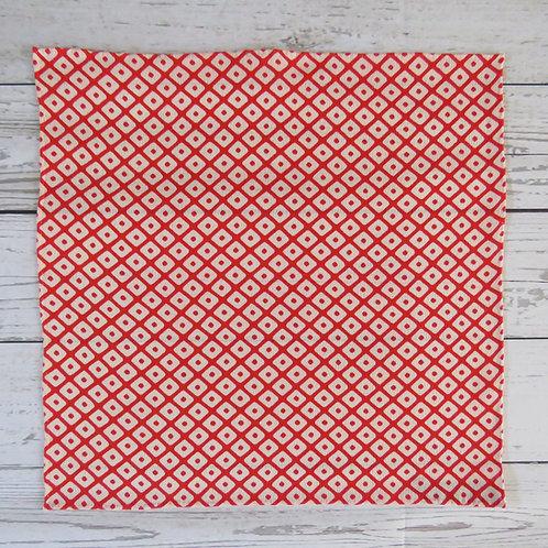 Pocket Square made from Vintage Japanese Kimono / Red Dots / Hutakoshi-Chirimen