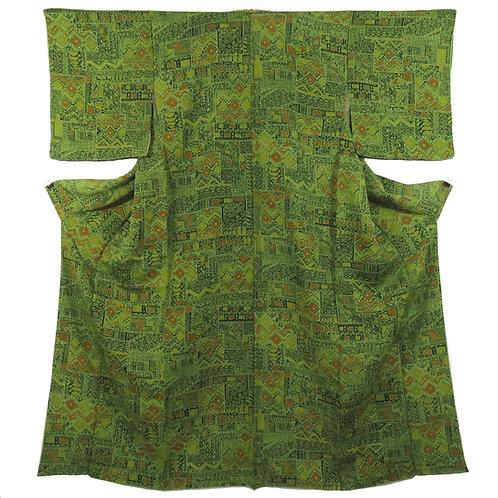 Vintage Japanese Kimono / Komon / Green