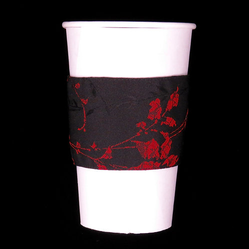Re-usable Cup Sleeve / Black / RedFlower