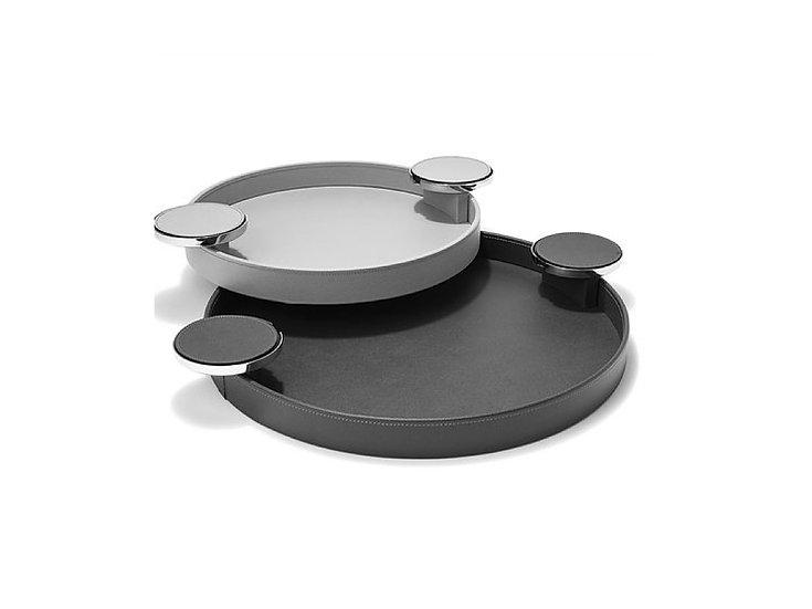 Round Tray with Coaster Holder