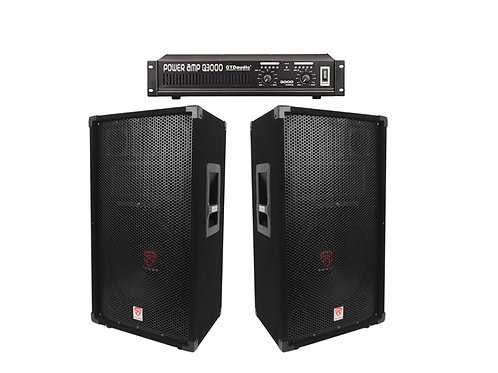 "2 Rockville RSG12 12"" 3-Way 1000 Watt PA Speakers w/ Amp Package"