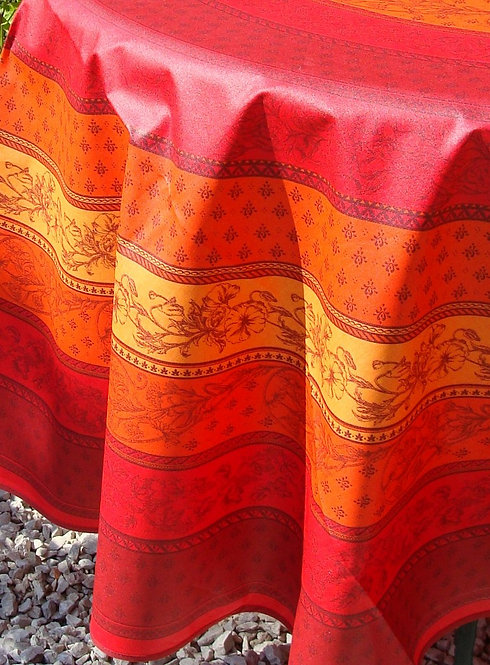Round Tablecloth Coated Cotton in Reds & Oranges