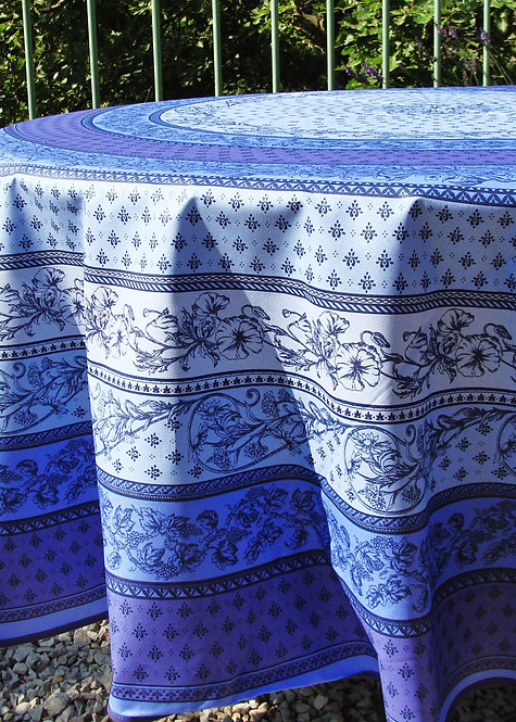 Round Tablecloth Coated Cotton in Blues
