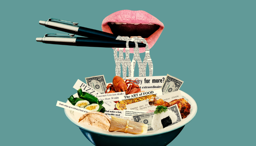 Image of a bowl filled with news articles and food with a large pair of lips using pens as chopsticks to eat newsprint