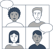 Blue, white, and grey image of four people in a video conference grid with two speaking through speech bubbles.