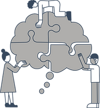 Grey and white image of three people putting together a thought bubble puzzle.