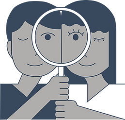Blue, white, and grey image of two people holding one magnifying glass and peering through it.