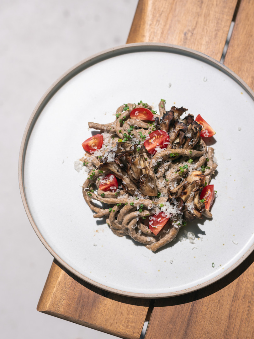 Grilled Pasta with Maitake