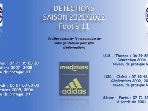 INSCRIPTIONS AUX DÉTECTIONS  Foot à 11 Saison 2021/2022