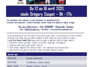 Stage de Pâques : du 12 au 16 Avril 2021