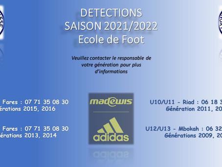 INSCRIPTIONS AUX DETECTIONS Ecole de Foot Saison 2021/2022