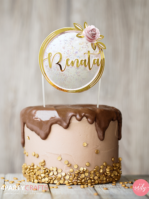 Cake topper dorado con flor