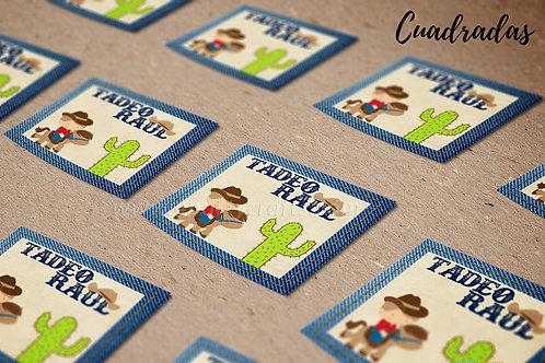 Paquete stickers (calcomanías) cuadradas