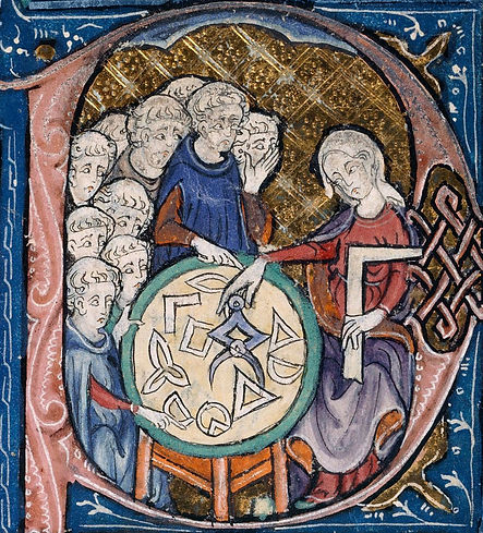 Detail of a historiated initial with a woman with a set-square and dividers teaching a group of students (perhaps the personification of Geometry). British Library, Burney 275  f. 293r.
