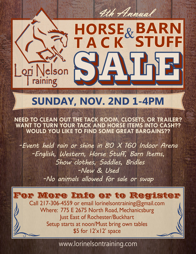 4th Annual Horse Tack & Barn Stuff Sale